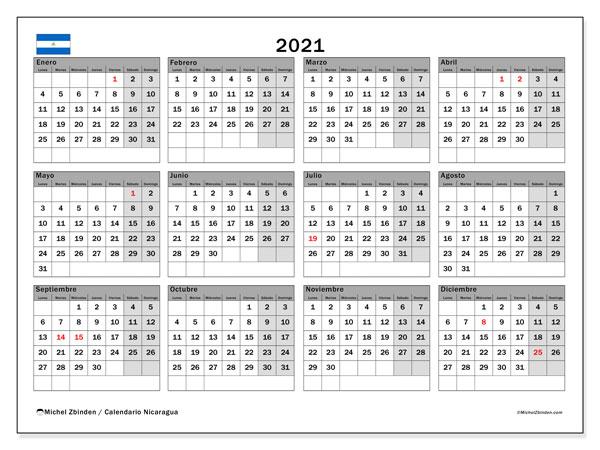 Calendario 2021, con días feriados en Nicaragua. Calendario para imprimir gratis con días festivos.