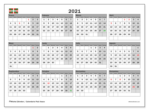 "Calendario ""País Vasco"" 2021 para imprimir   Michel Zbinden ES"