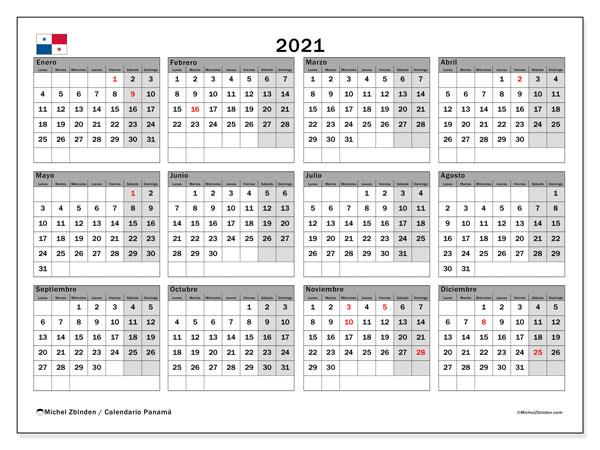 "Calendarios 2021 ""Días feriados""   Michel Zbinden ES"
