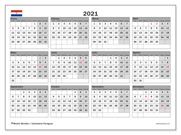 Calendario 2021, con días feriados en Paraguay. Calendario vacaciones y festivos para imprimir gratis.