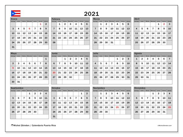"""Calendario """"Puerto Rico"""" 2021 para imprimir   Michel Zbinden ES"""