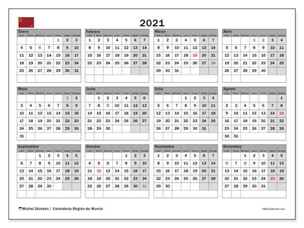 Calendario 2021, con días feriados en la Región de Murcia. Calendario para imprimir gratis con días festivos.