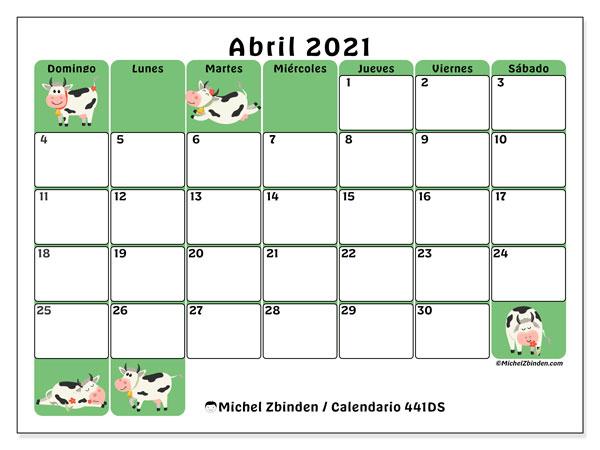 Calendario U201c441DS U201d Abril De 2021 Para Imprimir Michel