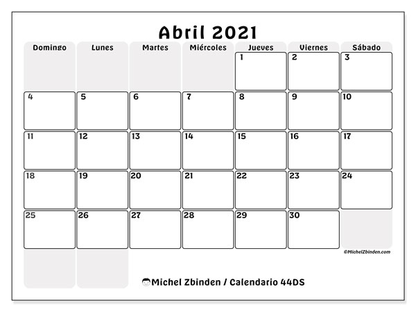 Calendario abril 2021, 44DS. Calendario gratuito para imprimir.