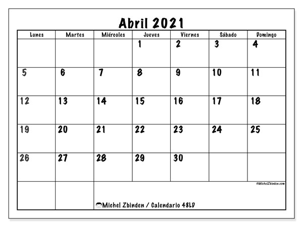 Calendarios abril 2021 (LD).  48LD.