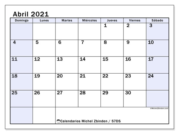Calendario abril 2021, 57DS. Calendario para el mes para imprimir gratis.