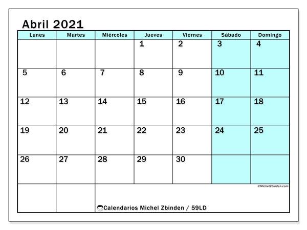 Calendario abril 2021, 59LD. Calendario gratuito para imprimir.