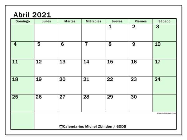 Calendario U201c60DS U201d Abril De 2021 Para Imprimir Michel