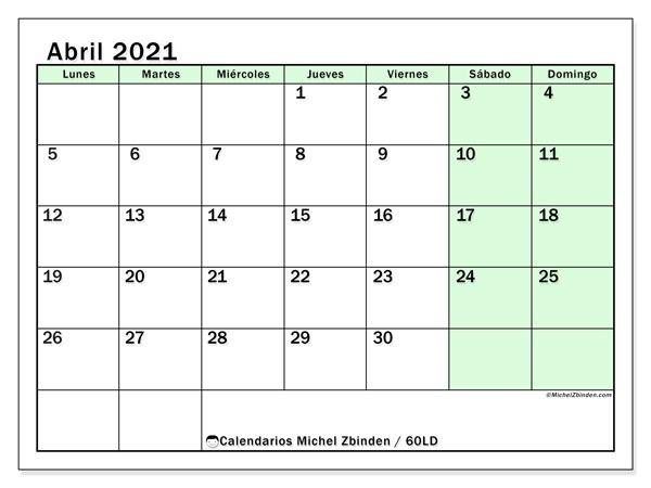 Calendario abril 2021, 60LD. Calendario para imprimir gratis.