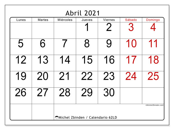 Calendarios abril 2021 (LD).  62LD.