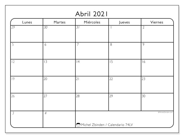 Calendarios abril 2021 (LD).  74LD.