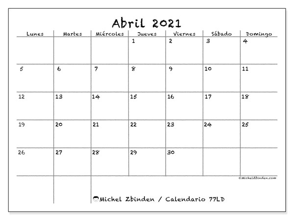 Calendarios abril 2021 (LD).  77LD.