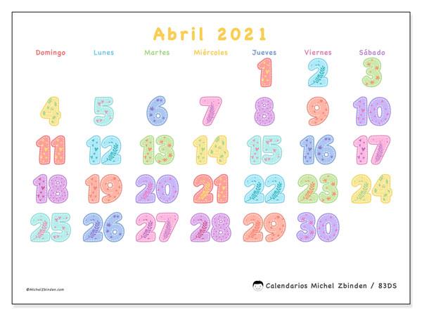 Calendario abril 2021, 83DS. Planificación para imprimir gratis.