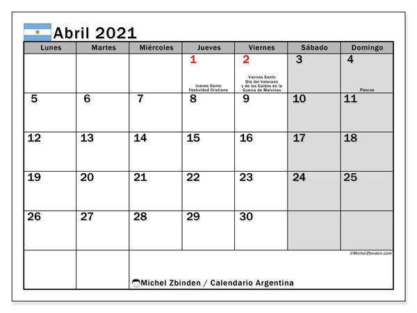 "Calendarios abril 2021 ""Días feriados""   Michel Zbinden ES"