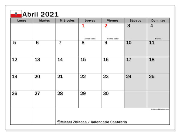 Calendario abril 2021, con días feriados en Cantabria. Calendario vacaciones y festivos para imprimir gratis.