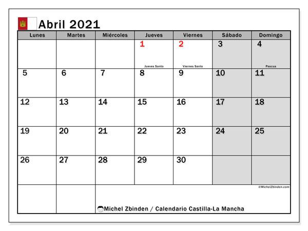 Calendario abril 2021, con días feriados en Castilla-La Mancha. Calendario para imprimir gratis con días festivos.