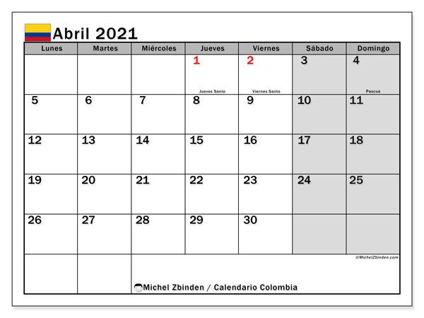 """Calendario """"Colombia"""" abril de 2021 para imprimir   Michel Zbinden ES"""