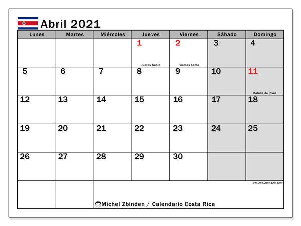 Calendario abril 2021, con días feriados de Costa Rica. Calendario vacaciones y festivos para imprimir gratis.