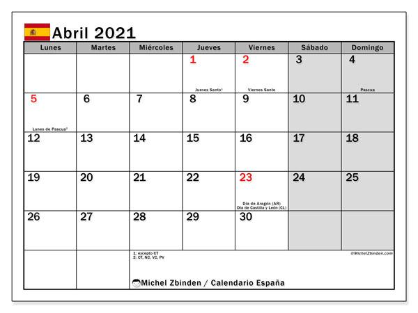 Calendario abril 2021, con días feriados en España. Calendario vacaciones y festivos para imprimir gratis.
