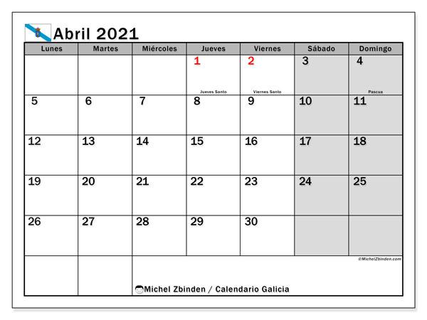 Calendario abril 2021, con días feriados en Galicia. Calendario para imprimir gratis con días festivos.