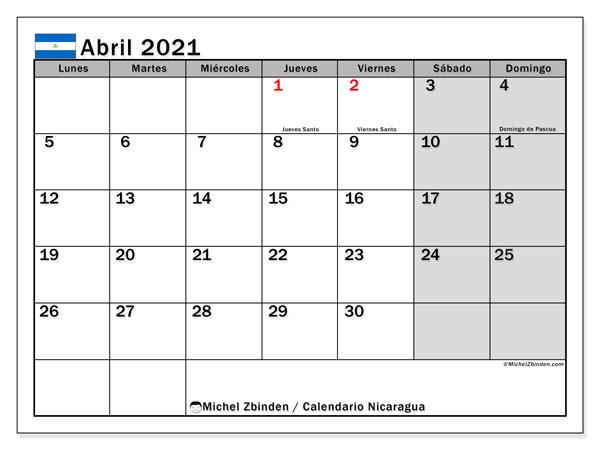 Calendario abril 2021, con días feriados en Nicaragua. Calendario para imprimir gratis con días festivos.