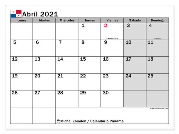 Calendario abril 2021, con días feriados de Panamá. Calendario vacaciones y festivos para imprimir gratis.