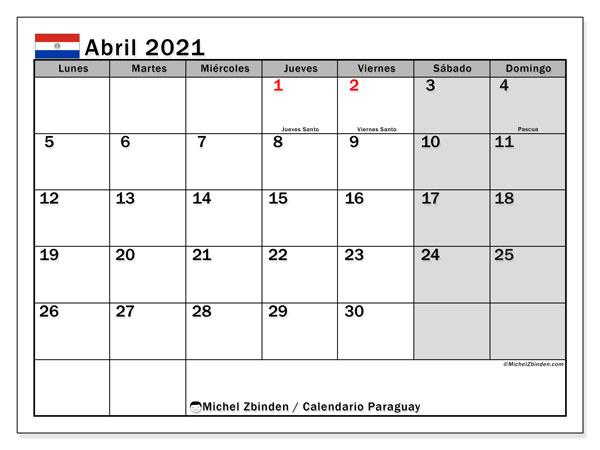 Calendario abril 2021, con días feriados en Paraguay. Calendario para imprimir gratis con días festivos.