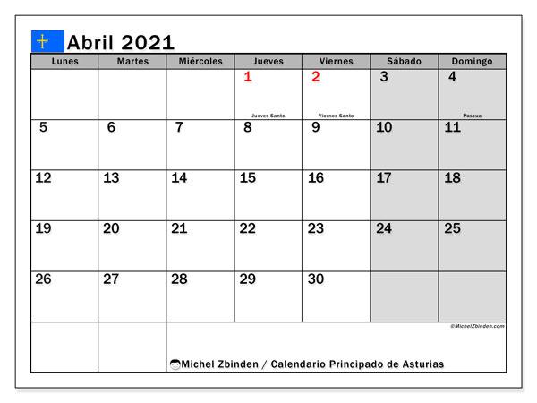Calendario abril 2021, con días feriados del Principado de Asturias. Calendario para imprimir gratis con días festivos.