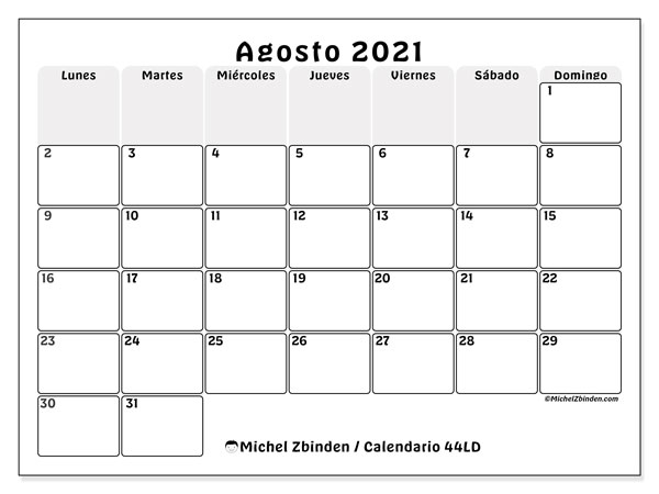 Calendario agosto 2021, 44LD. Calendario imprimible gratis.