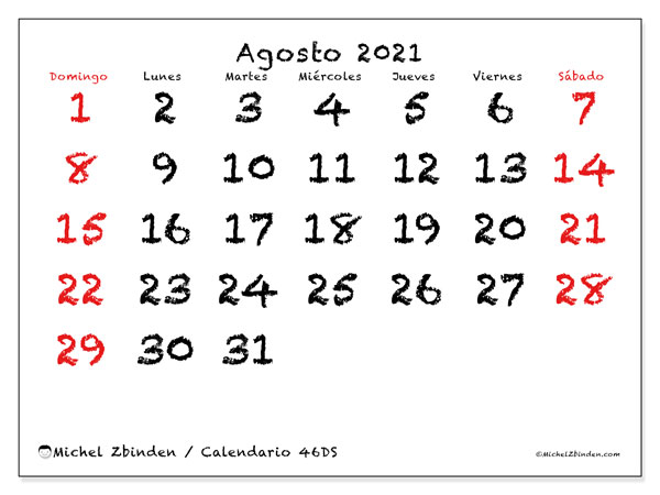 Calendario agosto 2021, 46DS. Calendario mensual para imprimir gratis.