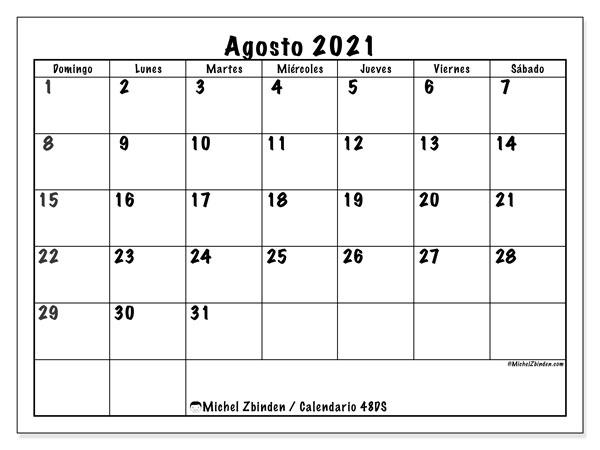 """Calendario Agosro 2021 Calendario """"48DS"""" agosto de 2021 para imprimir   Michel Zbinden ES"""