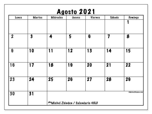 Calendario agosto 2021, 48LD. Calendario mensual para imprimir gratis.