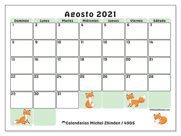 Calendario agosto 2021, 49DS. Almanaque para imprimir gratis.