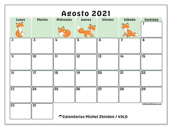Calendario agosto 2021, 49LD. Calendario para el mes para imprimir gratis.