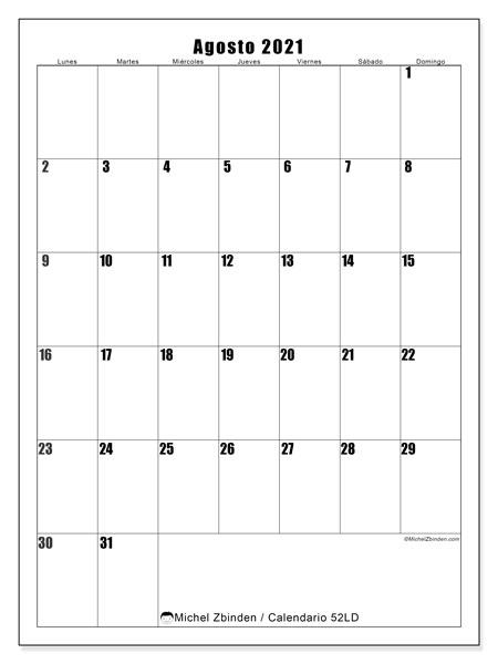 Calendario agosto 2021, 52LD. Almanaque para imprimir gratis.