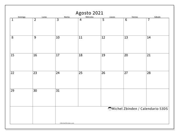Calendario agosto 2021, 53DS. Calendario imprimible gratis.