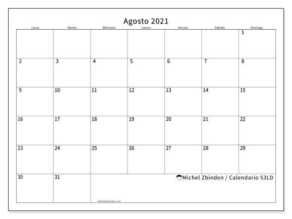 Calendario agosto 2021, 53LD. Calendario para imprimir gratis.