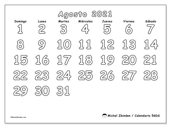 Calendario agosto 2021, 56DS. Calendario gratuito para imprimir.