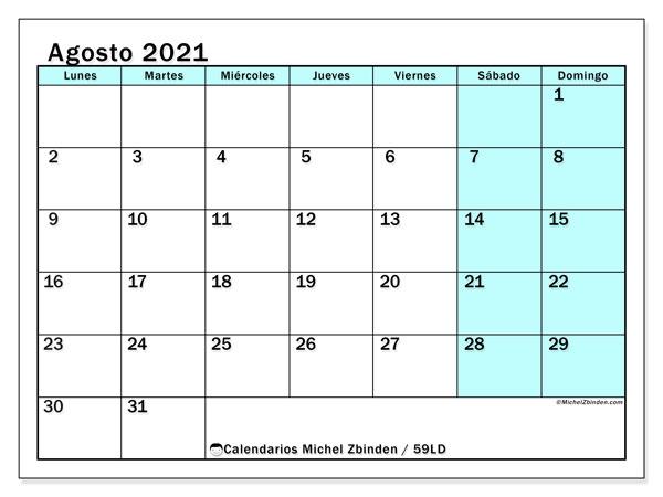 Calendario agosto 2021, 59LD. Calendario imprimible gratis.