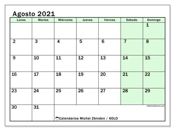 Calendario agosto 2021, 60LD. Calendario mensual para imprimir gratis.