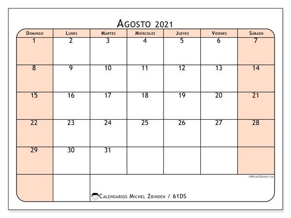 Calendario agosto 2021, 61DS. Calendario mensual para imprimir gratis.