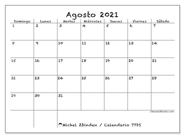 Calendario agosto 2021, 77DS. Calendario gratuito para imprimir.