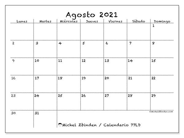 Calendario 77LD, août  de 2021, calendario mensual y Array