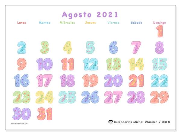 Calendario agosto 2021, 83LD. Calendario imprimible gratis.