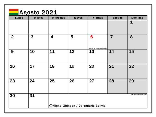 Calendario agosto 2021, con días feriados de Bolivia. Calendario vacaciones y festivos para imprimir gratis.