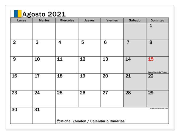 Calendario agosto 2021, con días feriados en las Islas Canarias. Calendario para imprimir gratis con días festivos.