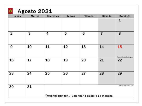 Calendario agosto 2021, con días feriados en Castilla-La Mancha. Calendario vacaciones y festivos para imprimir gratis.