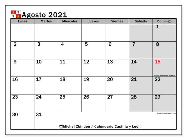 Calendario agosto 2021, con días feriados de Castilla y León. Calendario para imprimir gratis con días festivos.
