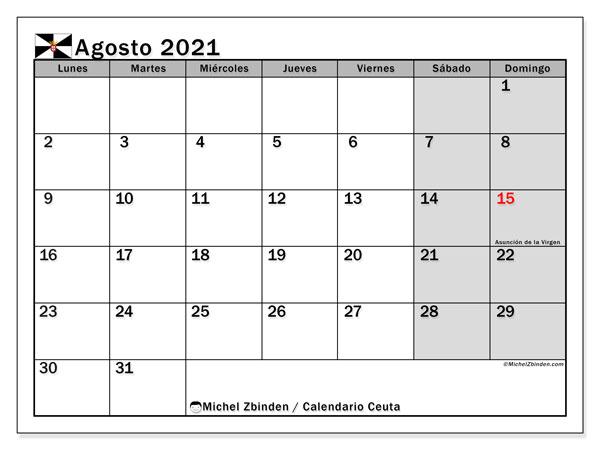 Calendario agosto 2021, con días feriados en Ceuta. Calendario para imprimir gratis con días festivos.