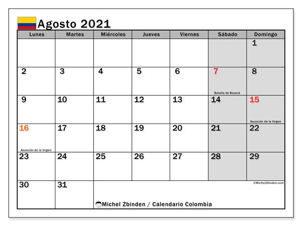 """Calendario """"Colombia"""" agosto de 2021 para imprimir   Michel Zbinden ES"""